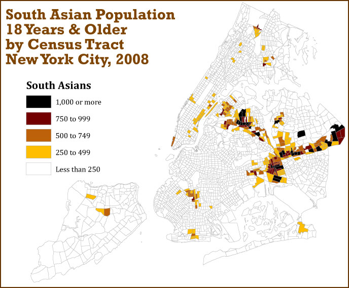 Click on the map below to learn about the South Asian population in New York